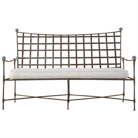 Mario Papperzini for Salterini Patinated Iron Garden Bench Settee