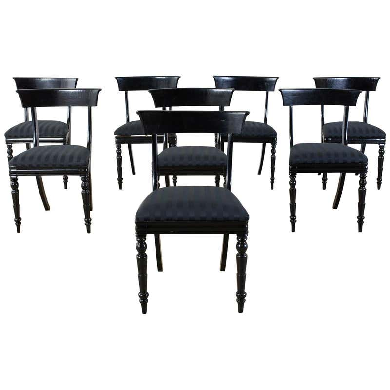 Set of Eight English Regency Style Ebonized Dining Chairs
