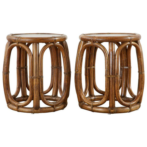 Pair of McGuire Bamboo Rattan Stools or Drink Tables