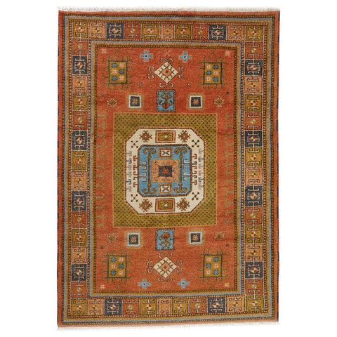 Tribal Pumpkin Orange Vintage Caucasian Kazak Rug