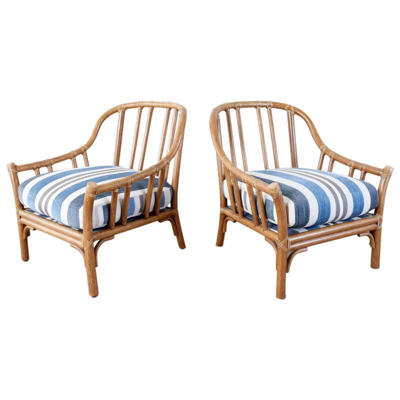 Pair of McGuire Organic Modern Rattan Lounge Chairs