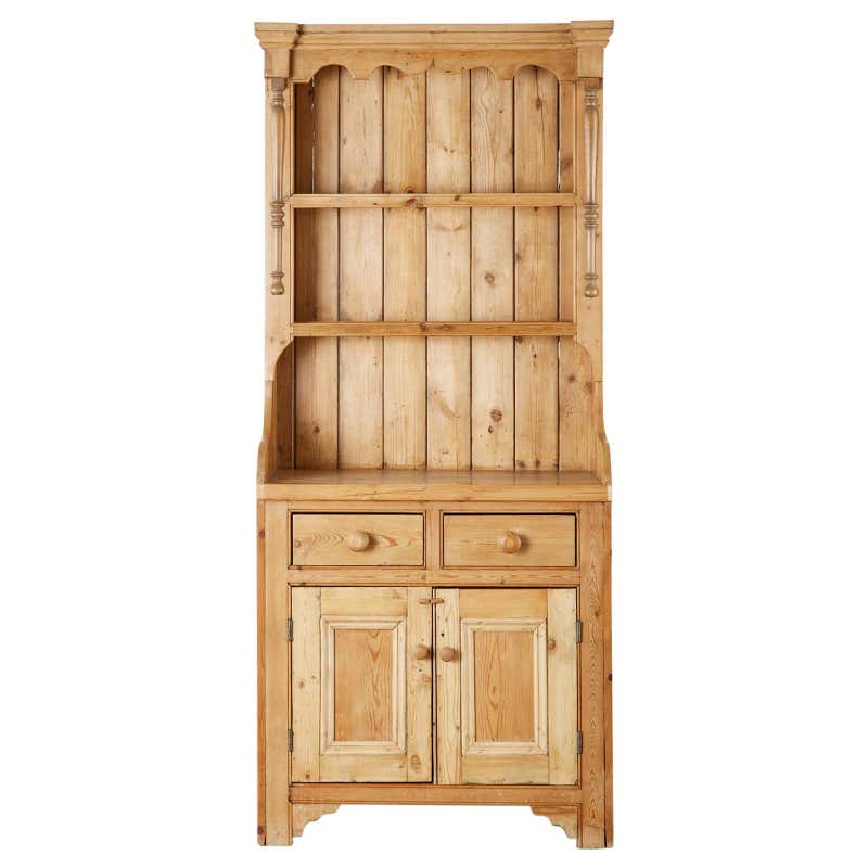 Country English Pine Welsh Dresser with Cupboard