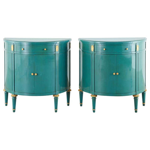 Pair of Louis XVI Style Turquoise Lacquered Demilune Cabinets