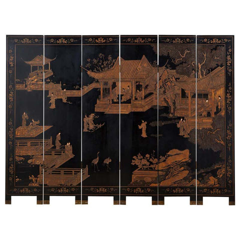 Chinese Export Six Panel Pagoda Landscape Coromandel Screen