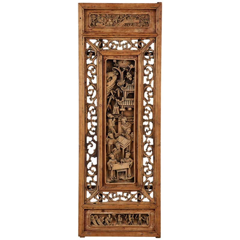 Chinese Qing Style Relief Carved Window Panel
