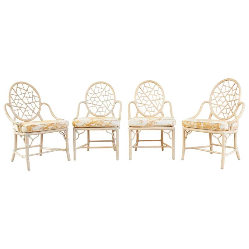 Set of Four McGuire Rattan Cane Cracked Ice Dining Chairs