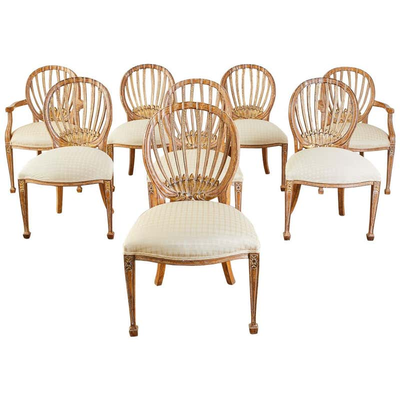 Set of Eight Neoclassical Style Dining Chairs by Kreiss