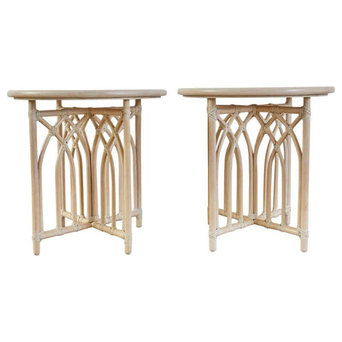 Pair of McGuire Cerused Rattan Bamboo Drink Tables