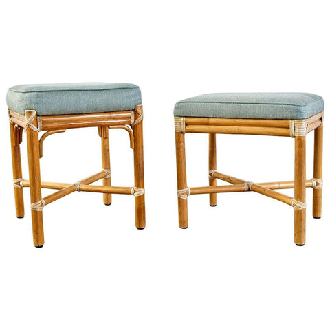 Associated Pair of McGuire Bamboo Rattan Footstools