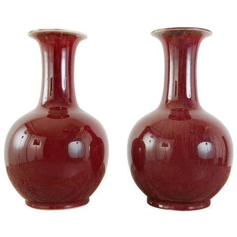 Pair of Chinese Oxblood Sang de Boeuf Lang Yao Vases