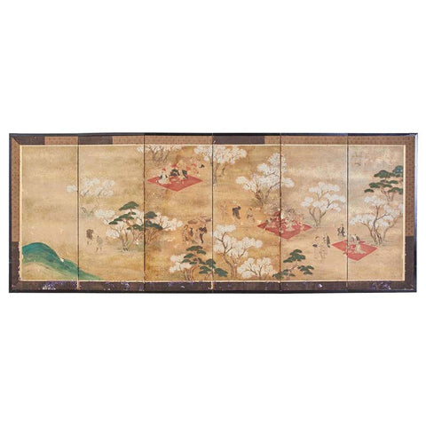 Japanese Edo Six-Panel Screen Feasting Under Cherry Blossoms