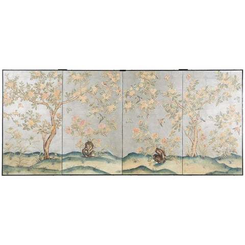 Early 20th Century Gracie Chinoiserie Style Wallpaper Panel Screen