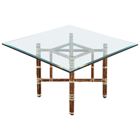 McGuire Organic Modern Rattan Bamboo Square Dining Table