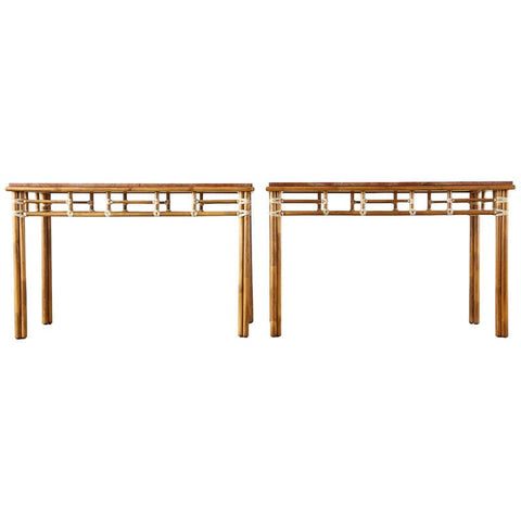 Pair of McGuire Marble-Top Rattan Console Tables
