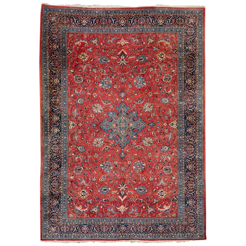 Traditional Ruby Red Persian Medallion Sarouk Rug