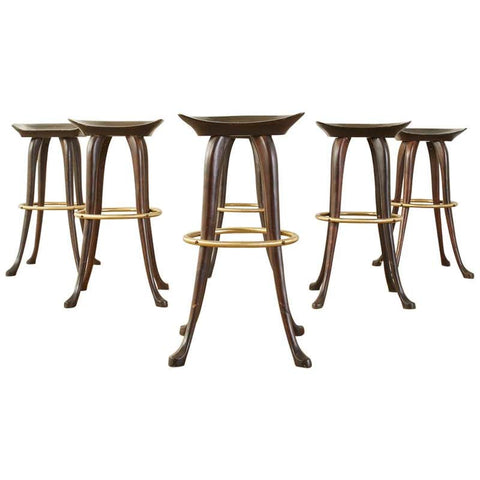 Set of Six Jean of Topanga California Carved Barstools