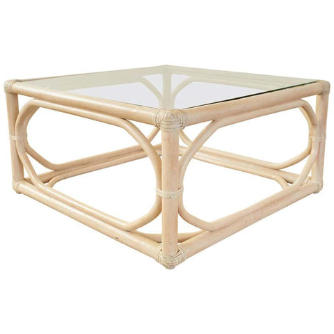 McGuire Organic Modern Cerused Rattan Cocktail Table