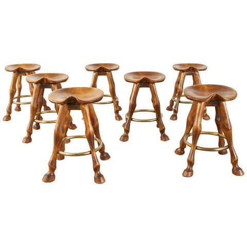Set of Seven Americana Horse Leg Barstools Saddle Seats