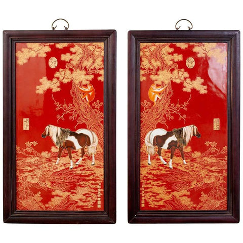 Pair of Qing Style Porcelain Panels Orange Monkey and Horse