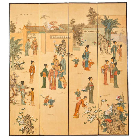 Chinese Export Four-Panel Painted Wallpaper Screen