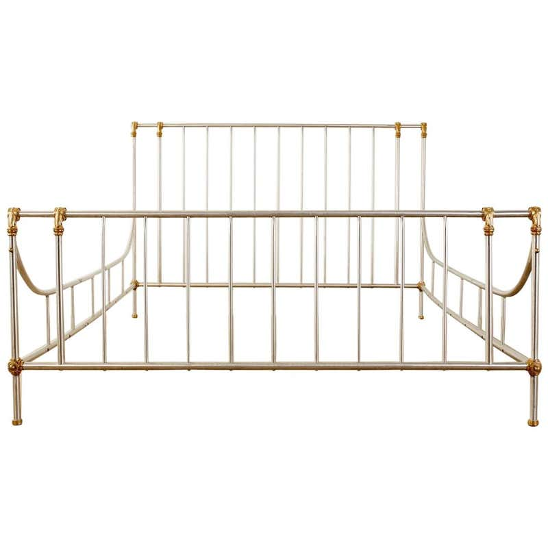 French Neoclassical Maison Jansen Style Bronze Steel Bed