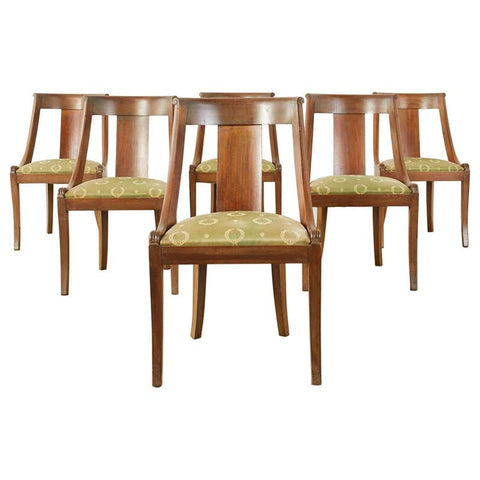 Set of Six French Empire Style Gondola Dining Chairs