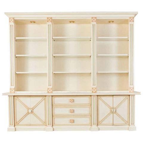 Italian Painted Neoclassical Style Two Part Bookcase