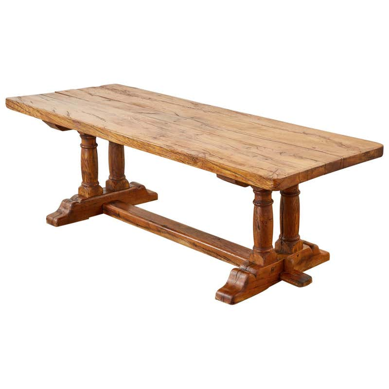 Country French Reclaimed Oak Farmhouse Trestle Dining Table