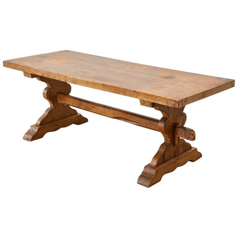 19th Century Country French Elm Farmhouse Trestle Dining Table