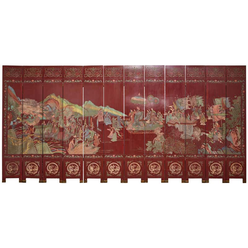 Chinese Twelve-Panel Red Lacquer Coromandel Screen of Xiwangmu