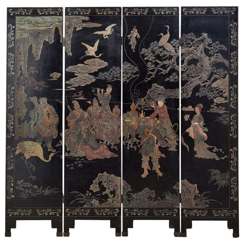 19th Century Chinese Qing Four-Panel Coromandel Screen Immortals