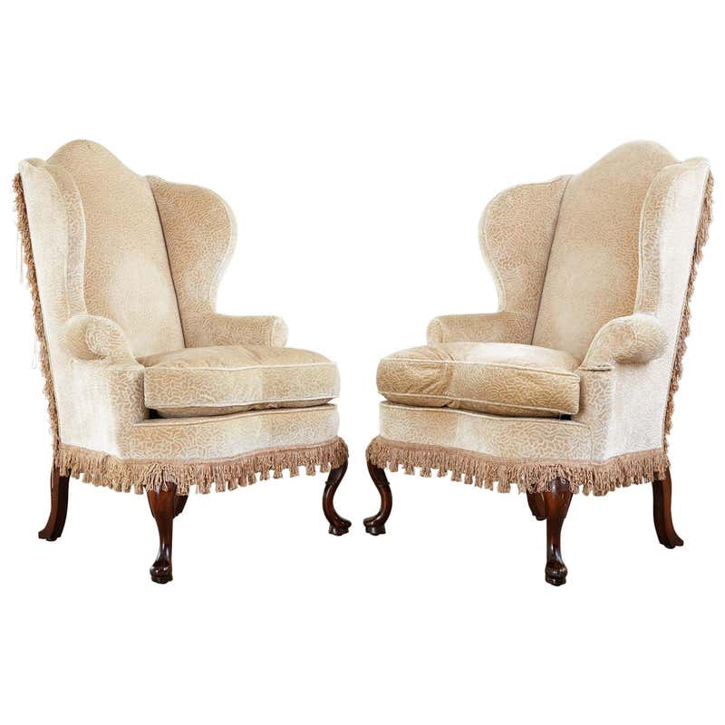 Pair of Queen Anne Style Wingback Chairs by Dunbar