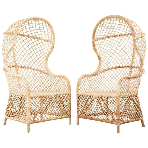 Pair of Rattan and Wicker Hooded Porters Chairs
