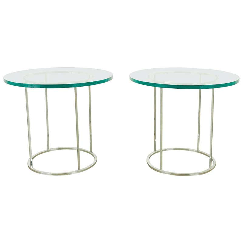 Pair of Milo Baughman Attributed Thin Line Chrome Drink Tables