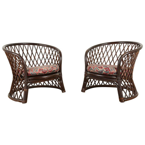 Pair of Brown Jordan Rattan Wicker Club Chairs