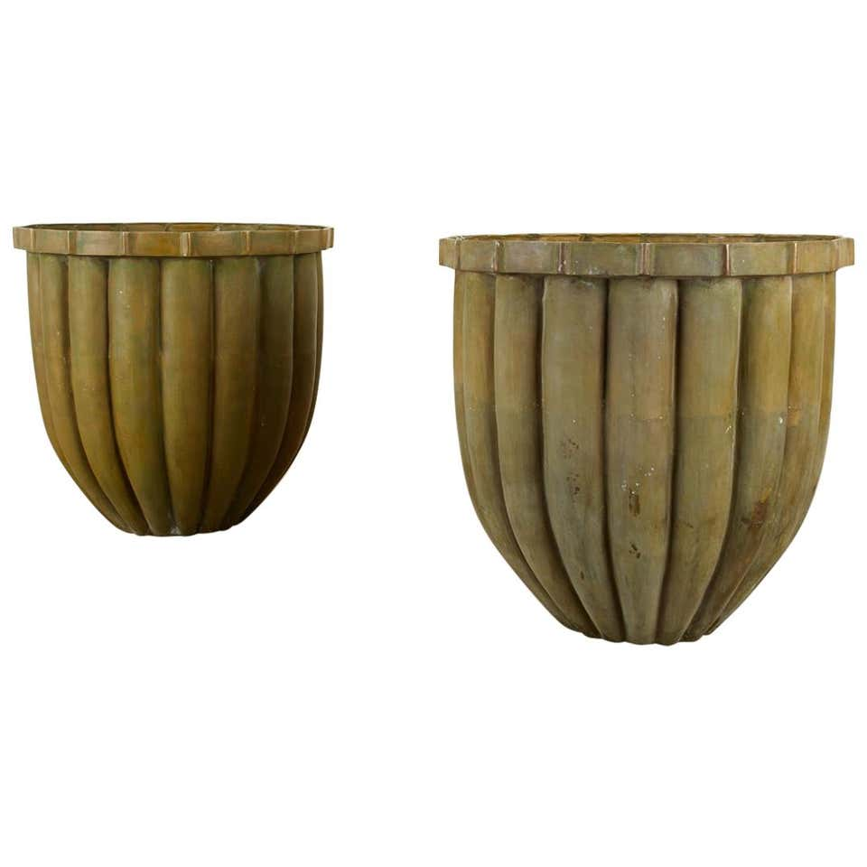 Pair of Tulip Form Fluted Bronze Jardinières Planters