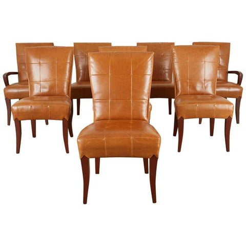 Set of Eight Dakota Jackson Puff Leather Dining Chairs