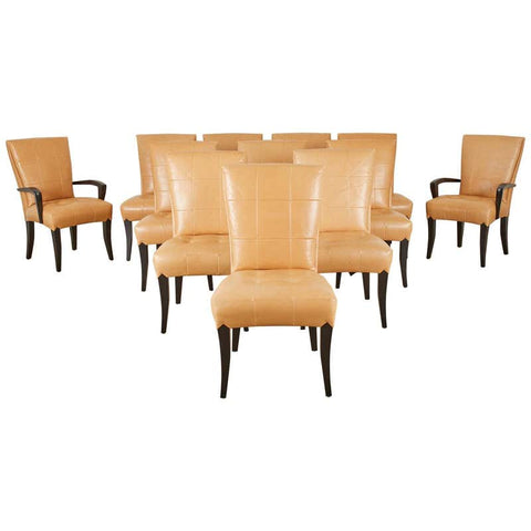 Set of Twelve Dakota Jackson Puff Leather Dining Chairs