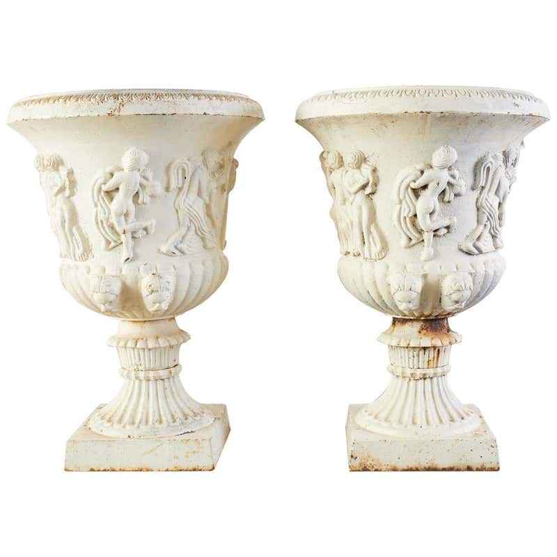 Pair of English Neoclassical Style Iron Garden Urns