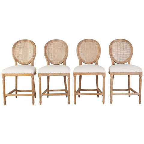 Set of Four Louis XVI Style Oak Cane Counter Bar Stools