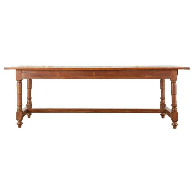 19th Century French Provincial Farmhouse Fruitwood Trestle Table