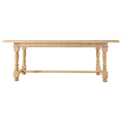 Country French Style Bleached Oak Farmhouse Dining Table