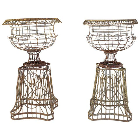 Pair of French Art Nouveau Iron Jardinières on Stands