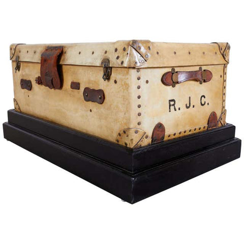 19th Century English Leather Luggage Trunk on Stand