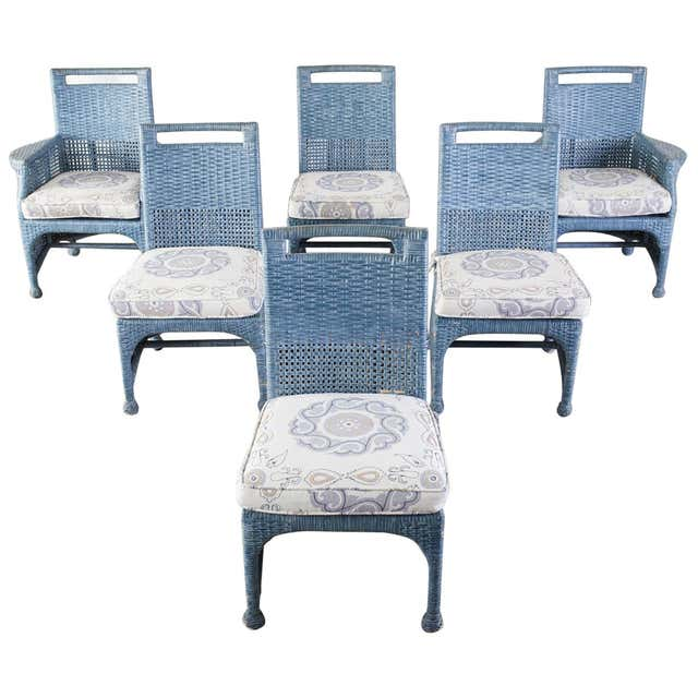 Set of Six McGuire Woven Rattan French Blue Dining Chairs