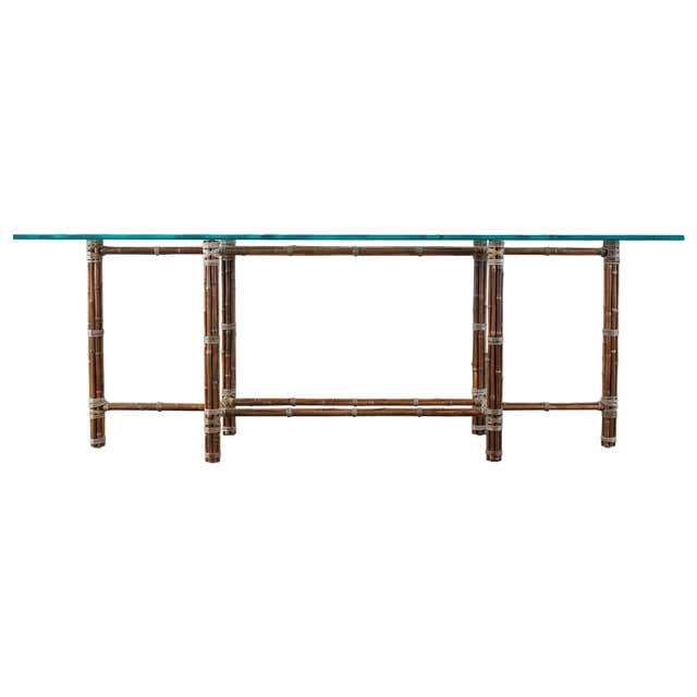 McGuire Organic Modern Bamboo Rattan Console Table