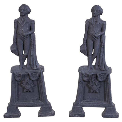 Pair of George Washington Cast Iron Andirons