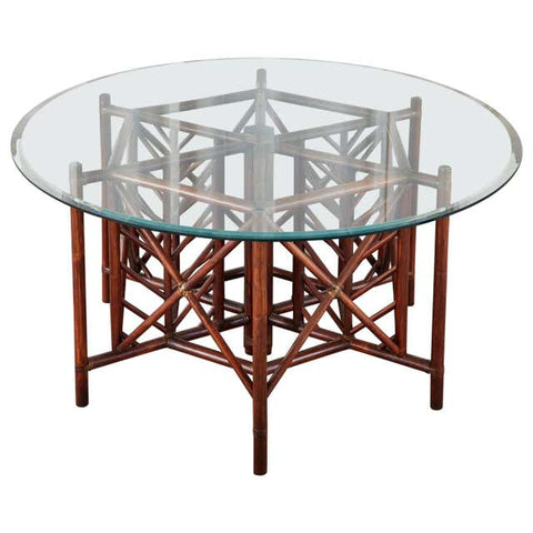 McGuire Style Organic Modern Round Rattan Dining Table