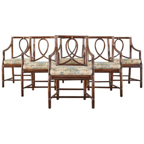 Set of 6 McGuire Organic Modern Rattan Dining Armchairs
