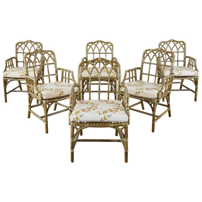 Bob Hope's Set of Six McGuire Rattan Dining Armchairs